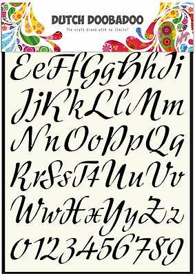 Dutch Doobadoo A4 Template Stencil Mask Vintage Handwriting Alphabet Numbers