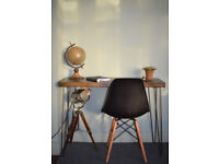 Rustic Chestnut Industrial Vintage Style Desk Hairpin & Chair