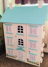 Wooden Doll House with Large Bundle of Accessories