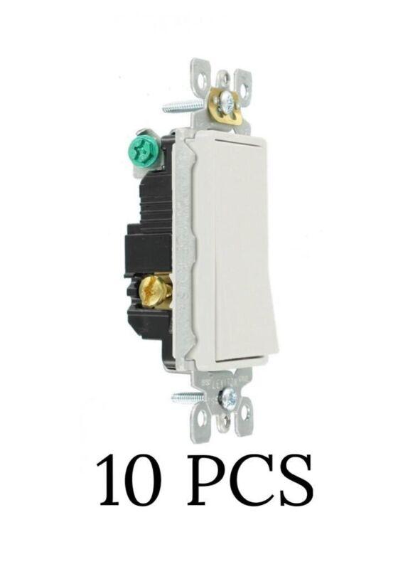10 PCS White Leviton Rocker 3 Way Ac Quiet Switch 5603-2W 15 Amp 120/277V