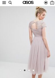 Little mistress, tall, short sleeved, lace bodice midi dress with tulle skirt