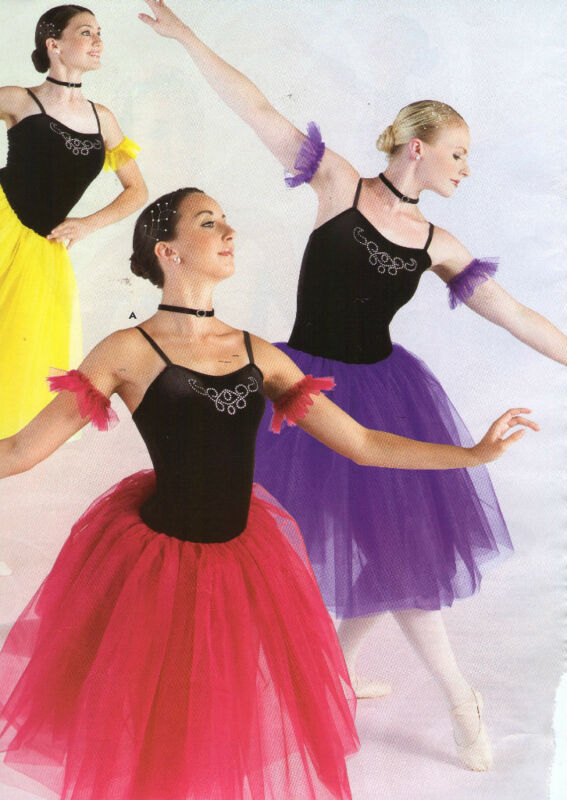 NWT Black Velvet Rhinestone Ballet Costume Organdy Romantic Length Ch/Adult Asst