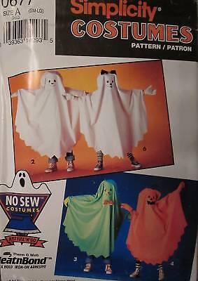 No Sew Halloween Costume (0677 Vintage Simplicity Pattern Kids NO SEW Halloween Costume Ghost +)
