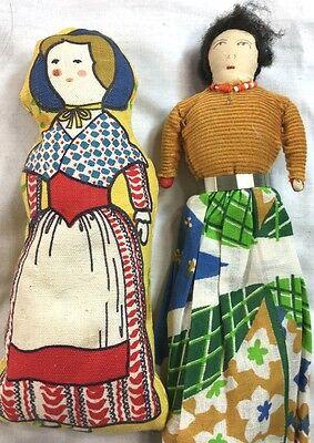 Lot of 2 - handmade Americana folk art dolls