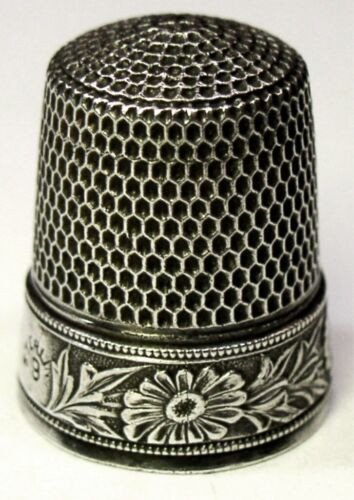 "Antique Simons Brothers Co. Sterling Silver Thimble  ""Flowers & Leaves""  C1900s"