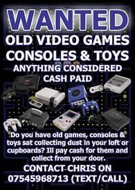WANTED - Old Video Games, Consoles & Toys. Sega, Nintendo, snes, nes, n64, megadrive, ps1, lego