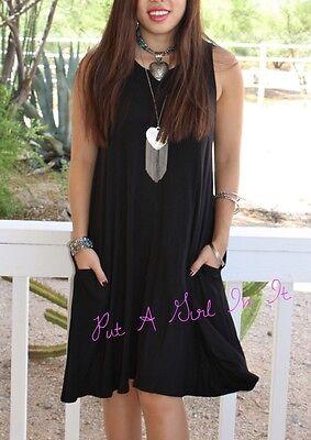 - PLUS SIZE LITTLE BLACK TANK SLEEVELESS FLARED MINI DRESS POCKETS USA 1X 2X 3X
