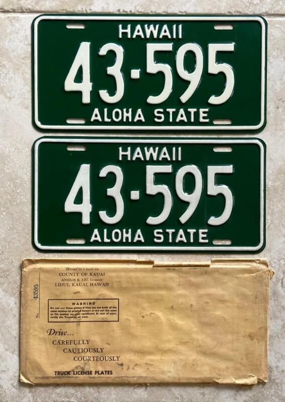 1961-1968 Hawaii Truck License Plate Pair Vintage Original