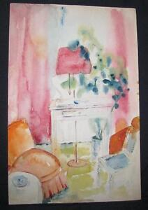 ORIGINAL WATERCOLOUR PAINTING of VICTORIAN HOUSE INTERIOR