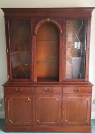 Rosewood cabinet with illuminated glass display cabinet with locking doors and cupboards