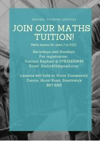 Maths Tuitions For Year 7 to GCSE Students.