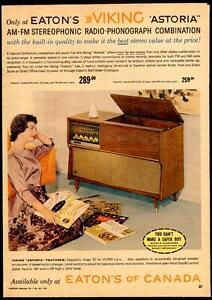 Large 1959 full-page color ad- Eaton's Viking stereo system
