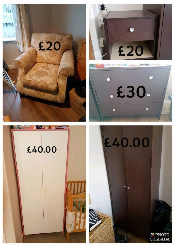 Bedroom Furniture. Wardrobe, Chest of Drawers and Bedside Cabinets.
