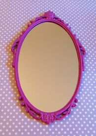 VINTAGE OVAL WALL MIRROR Hand Painted