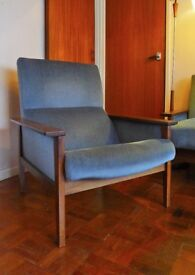 On-trend, genuine mid-century, pair of armchairs, very good condition. Scandi style, genuine 1960's.