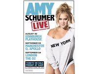**LESS THAN FACE VALUE** 4x Amy Schumer tickets, Sunday 4th September, London O2 Arena