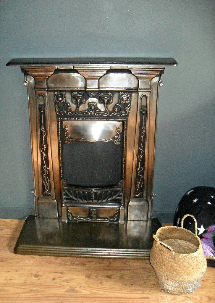 Polished cast iron fireplace - surround and hearth