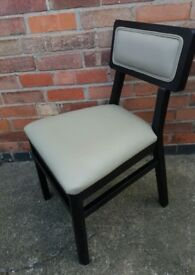 Black wood frame and beige grey upholstery chair
