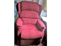 ARMCHAIR. LINTON PETITE DUAL RISE AND RECLINE IN BOUCLE, WINE COLOUR from HSL