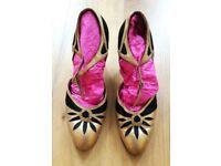 VINTAGE 1930 Art Deco Shoes Flapper Black Beige Gold Leather Antique Charleston: Restoration