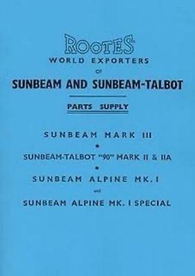 Sunbeam Alpine Talbot 90 1953 to 55 Parts manual book catalogue paper