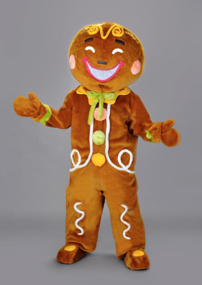 bestbewerteter Beamter zarte Farben ästhetisches Aussehen Lebkuchen Maskottchen Kostüm Bäckerei Promotion Lauffigur 224b