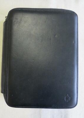 Classic Franklin Covey Spacemaker 1.25 Black Leather Zip Planner Binder Pda