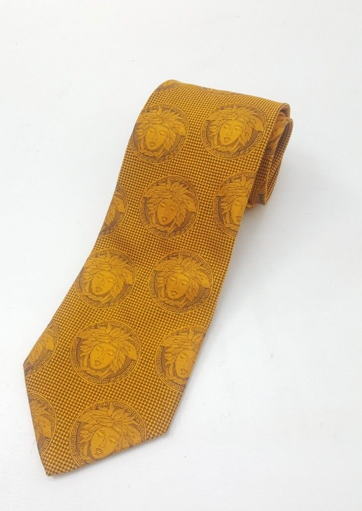 7a45c16251b1 RRP £145 Genuine Versace gold jacquard Medusa 100% silk tie. Not Armani,  Gucci, Boss, Reiss