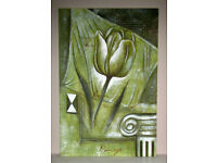 Picture painting oil on canvas stretched on frame Green/Gold Tulip 3ft x 2ft unknown artist