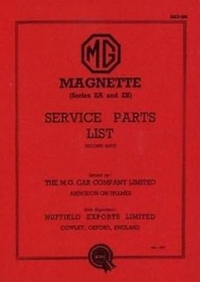 MG Magnette ZA to ZB Car Parts manual Catalogue Book paper