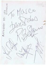 The Beatles and Led Zeppelin autographs memorabilia wanted Pink Floyd