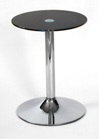 Lamp Side End Coffee Table Black Round Glass Display Stand Chrome Base