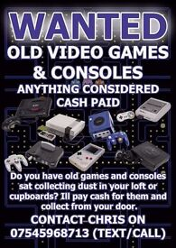 WANTED - Old games consoles & Games - Anything considered Call/Text/Email - SEGA NINTENDO