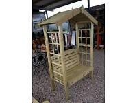 Wooden Garden arbour bench seat and garden furniture picnic tables