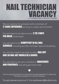NAIL TECHNICIAN VACANCY
