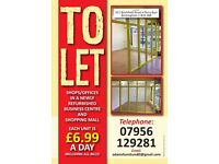 SHOP/OFFICES TO LET AT £199 PER MONTH INCLUDING BILLS. 13 X 13 FEET