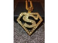 Men's 18K Gold Plated Superman Hip Hop Rhinestone Pendant Cuban Chain Necklace