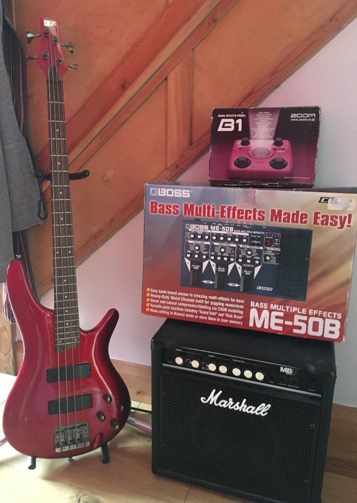 Bass guitar with stand, amp and 2 effects