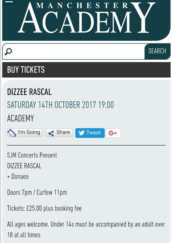 2x dizzee rascal tickets £40 14th october manchester academy