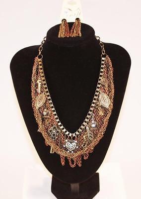 Necklace & Earrings Set Prime Fashion Jewelry Copper Tone Mesh Bib JXFQ New Copper Tone Jewelry