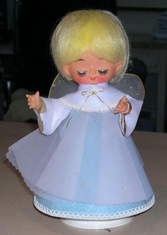 Vintage Revolving Action Musical Angel, Christmas Decoration, Silent Night
