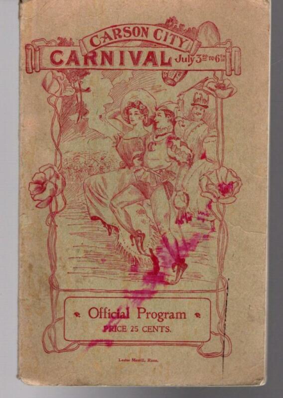 1901 CARSON CITY CARNIVAL Official Program Booklet