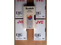 4No. JVC VHS Blank Video Cassettes & Head Cleaning Tape. Tapes Brand New & Sealed.