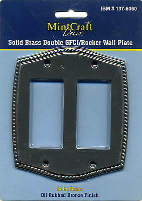 Double Gfci Solid Brass - MINT CRAFT~SOLID BRASS DOUBLE GFCI/ROCKER WALL PLATE