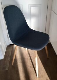 4 x mid-century style denim blue coloured dining chairs with wood effect legs