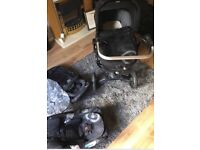 Black and grey neo Concorde pushchair with multiple attachments