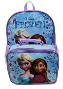 Disney Frozen Anna Elsa Classic Girls Backpack with Detachable Lunch Kit 15 Inch