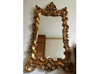 Ornate Rococo-style Solid Gold-leaf Mirror