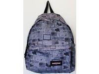 "18"" Unisex Eastpak Rucksack / Backpack - Grey and Black Flag Print"