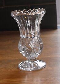 Cut glass lead crystal posy vase, Scottish thistle shape Original label attached